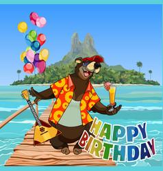 cartoon character happy bear happy birthday vector image