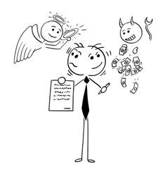 Cartoon of businessman or salesman offering vector