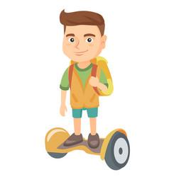 Caucasian schoolboy riding on gyroboard to school vector