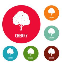 cherry icons circle set vector image