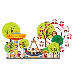 Children playing in the theme park vector
