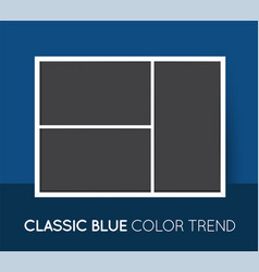 Classic blue trendy color horizontal collage vector