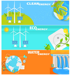 Clean eco water and wind energy set vector