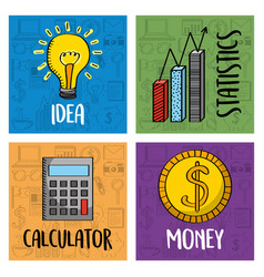 collection business idea calculator money and vector image