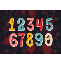 Colorful set of hand drawn numbers folded paper nu vector image
