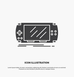 console device game gaming psp icon glyph gray vector image