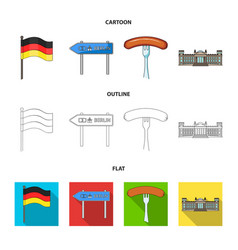 country germany cartoonoutlineflat icons in set vector image