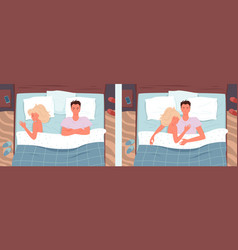 Couple people sleeping poses in bed set young man vector