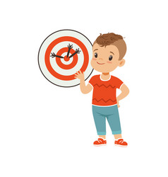 Cute boy playing darts kids physical activity vector