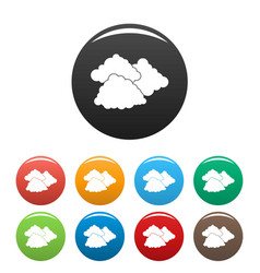 dark cloudy icons set color vector image