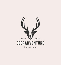 deer head logo hipster retro vintage label vector image