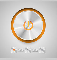 Detailed round power button for media player vector