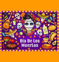 Dia de los muertos mexican skulls and fiesta food vector