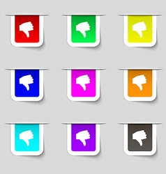 Dislike Thumb down icon sign Set of multicolored vector image