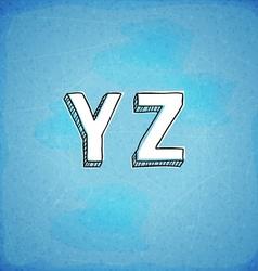 Doodle Style Hand Drawn Alphabet Y-Z vector image