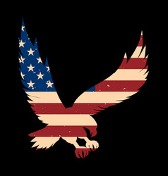 Eagle silhouette with usa flag background design vector