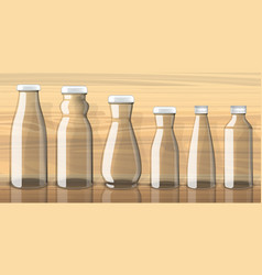 empty juice bottles on transparent background vector image