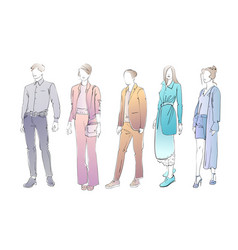 Fashion collection clothes female and male vector