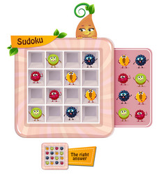 Fun sudoku game fruits vector