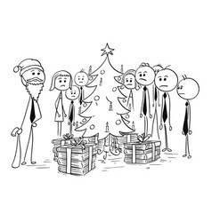 Group of office business people around christmas vector