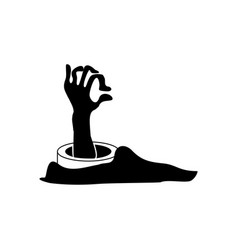 halloween scary zombie hand icon vector image