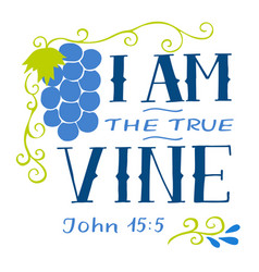Hand lettering wth bible verse i am true vine vector