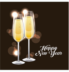 Happy new year pair of champagne glass cheers vector