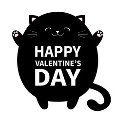 happy valentines day black cat ready for a vector image