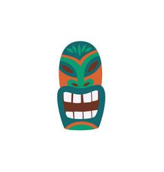 Hawaiian idol tiki mask with face icon flat vector