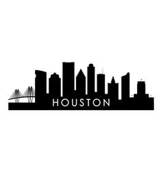 houston skyline silhouette black houston city vector image