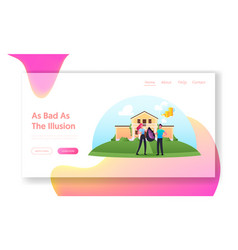 Illusions and fraud cheating landing page template vector