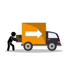 Industry truck package and delivery design vector