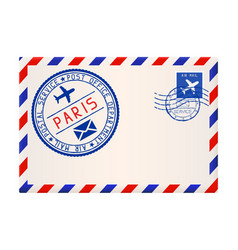 international air mail envelope from paris vector image