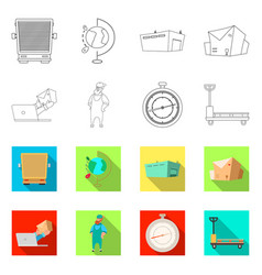 Isolated object of goods and cargo logo set of vector