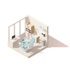 Isometric low poly dental office vector