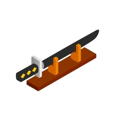 Katana on a wooden stand isometric 3d icon vector