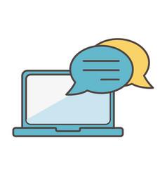 laptop speech bubble social media icon vector image