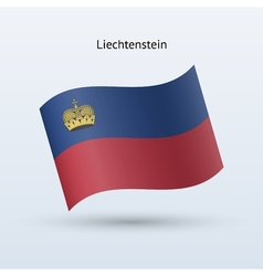 Liechtenstein flag waving form vector image