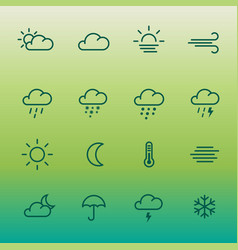 lines weather forcast icon set on green gradient vector image