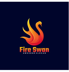 logo fire swan gradient colorful style vector image