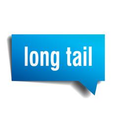 Long tail blue 3d speech bubble vector