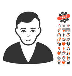 Man icon with lovely bonus vector