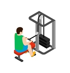 Man training on simulator icon isometric 3d style vector