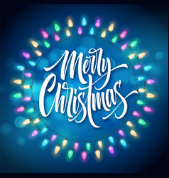 merry christmas lettering in gerland circle frame vector image