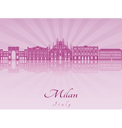 Milan skyline in purple radiant orchid vector image