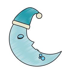 Moon with sleeping cap kawaii character vector