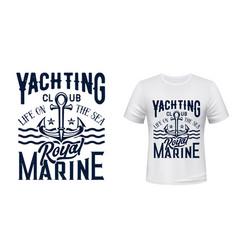 Nautical anchor t-shirt print yacht club vector