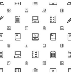 Notebook icons pattern seamless white background vector