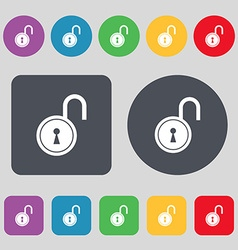Open lock icon sign A set of 12 colored buttons vector
