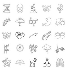 organic icons set outline style vector image